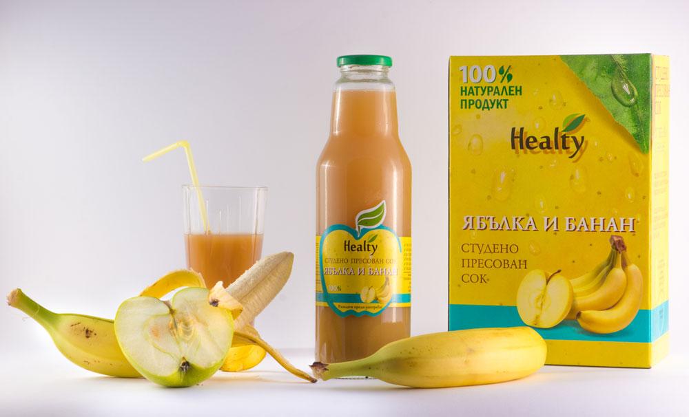 ЯБЪЛКА И БАНАН, 100% натурален судено пресован сок, Healty, 750 мл