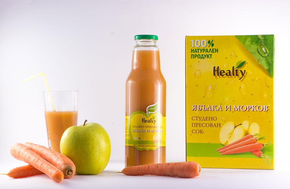 ЯБЪЛКА И МОРКОВ, 100% натурален судено пресован сок, Healty, 750 мл
