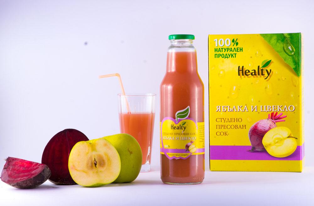 ЯБЪЛКА И ЦВЕКЛО, 100% натурален судено пресован сок, Healty, 750 мл