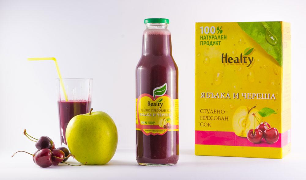 ЯБЪЛКА И ЧЕРЕША, 100% натурален судено пресован сок, Healty, 750 мл