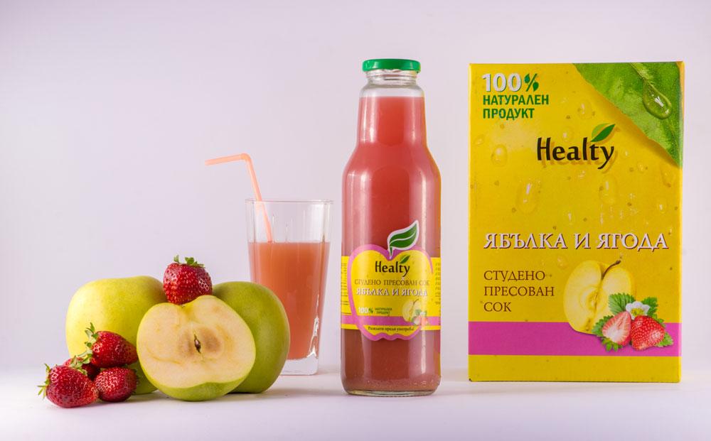 ЯБЪЛКА И ЯГОДА, 100% натурален судено пресован сок, Healty, 750 мл