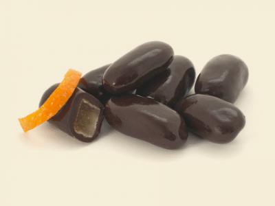 белгийски черен шоколад с портокалови кори