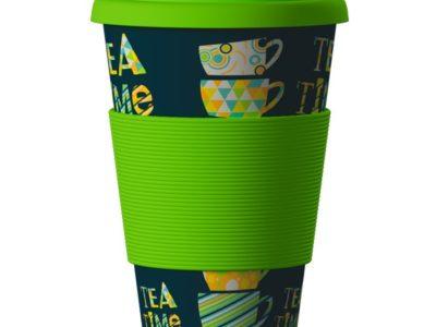 Еко чаша от бамбук Време за чай зелена 400мл